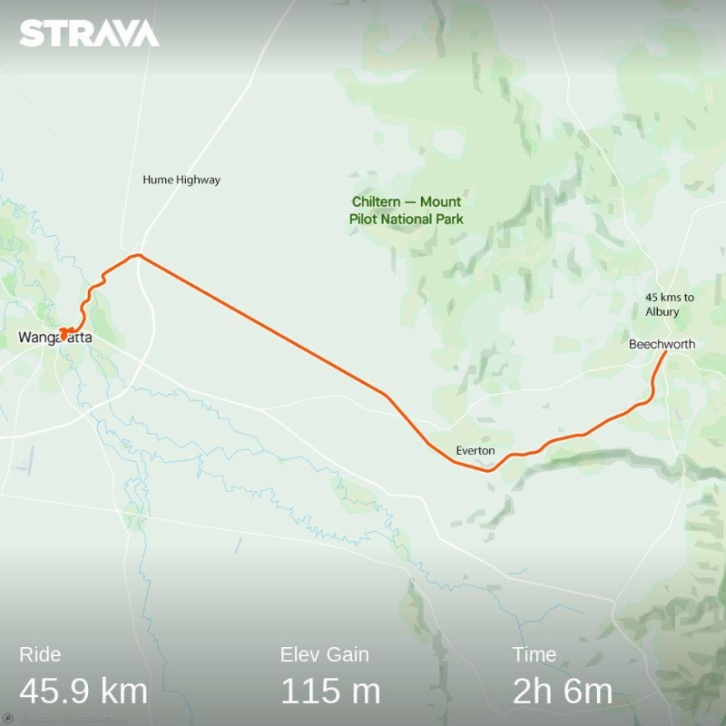 Day 1 Beechworth to Wangeratta